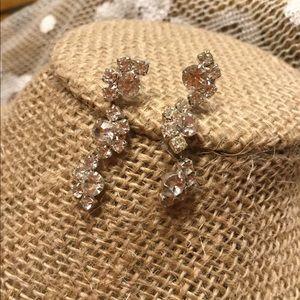 Rhinestone dangle earrings, vintage